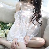 性感睡衣女春夏透明蕾絲超薄短裙情趣內衣騷火辣情調衣人大碼套裝【全館免運】