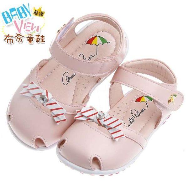 布布童鞋 雨傘牌粉色優雅公主真皮護趾透氣寶寶學步涼鞋(14.5~15公分) [ MAR208G ] 粉紅款