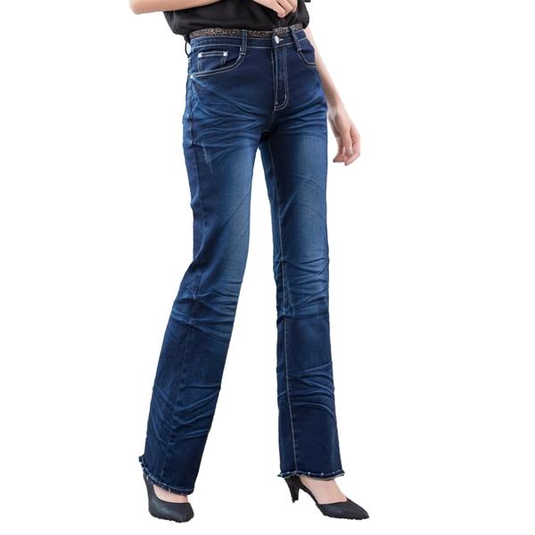 中大尺碼--獨特魅力褲頭豹紋拼接刷白壓皺褶喇叭牛仔長褲(XL-7L)-N99眼圈熊中大尺碼◎