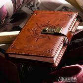 密碼本帶鎖日記本小學生記事本兒童學習計劃本創意手帳本復古線裝文具【街頭布衣】