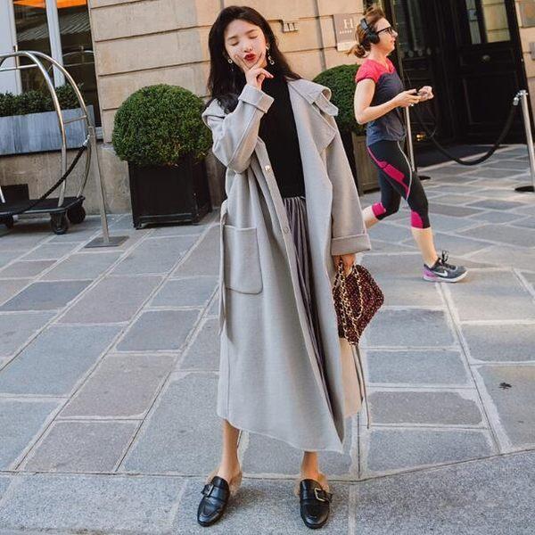 韓國空運超長版高品質毛呢大衣外套 - 氣質小香風中長版繫帶立領大衣【預購】