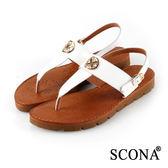 SCONA 全真皮 簡約T字飾釦厚底涼鞋 白色 22718-1