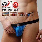 情趣用品 男丁字褲【網將WJ】條紋網紗半透明性感丁字褲﹝藍XL﹞