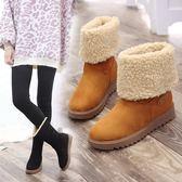 新款韓版百搭加絨雪地靴女學生冬季保暖短靴平底防滑棉鞋中筒  時尚潮流