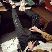 秋季男褲子日韓潮流時尚修身牛仔褲男學生黑色顯瘦九分褲 森雅誠品