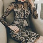 氣質性感包臀魚尾緊身改良版旗袍蕾絲洋裝夏修身顯瘦女人味裙子 至簡元素