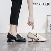 秋季新款高跟鞋英倫風小皮鞋粗跟單鞋百搭軟皮中跟女鞋子 秋季新品