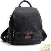 真皮包-MOROM.真皮配色機能肩背/後背包(黑色)025#