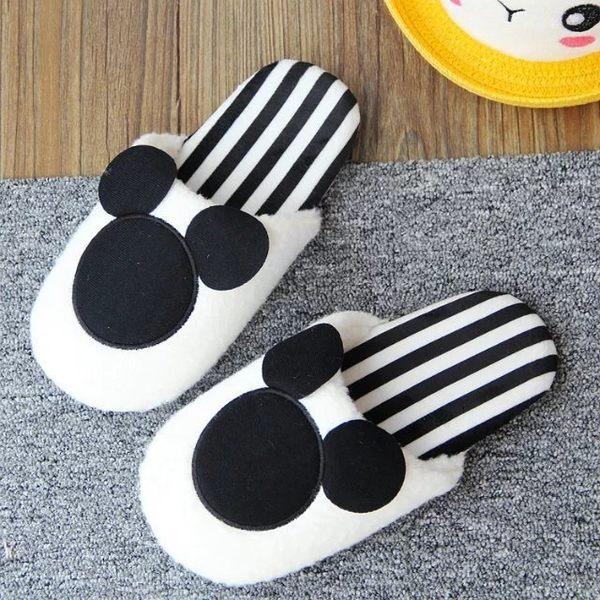 【發現。好貨】日本秋冬季家居拖鞋米奇米妮造型點點條文室內拖鞋 保暖拖鞋 地板拖鞋