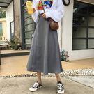 (全館一件免運)DE SHOP~(YU-9005)毛呢中長裙高腰a字半身裙氣質顯瘦黑色傘裙