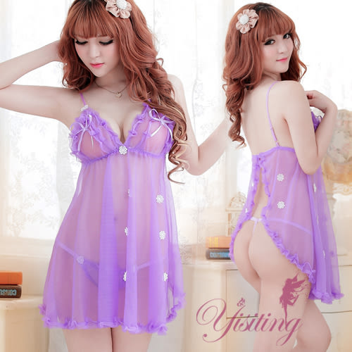 旗袍 情趣用品 女人媚惑!肚兜式二件式睡襯衣﹝淺紫﹞ 性感內衣 貨到付款