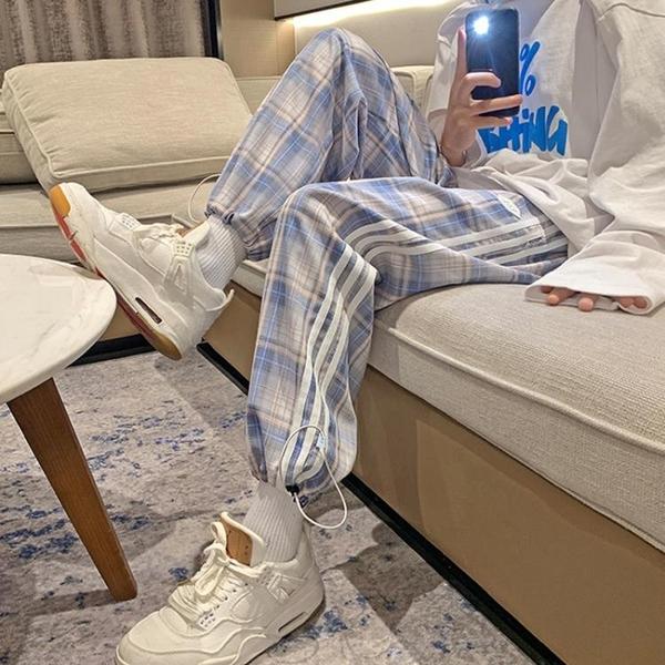 夏新款休鬆褲男韓版寬鬆條紋格子抽繩束腳褲港風百搭運動褲格蘭小鋪