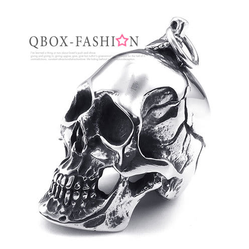 《 QBOX 》FASHION 飾品【W10025225】 精緻個性龐克骷髏頭316L鈦鋼墬子項鍊