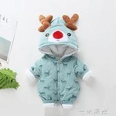 嬰兒連身衣秋冬季加厚新生兒冬裝女夾棉寶寶抱衣服秋裝套裝外出男 聖誕節免運