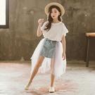 女童半身裙夏季2019新款韓版兒童紗裙蓬蓬裙潮童裝牛仔網紗半裙女