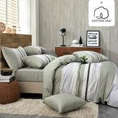 床包被套組 四件式雙人薄被套床包組/亞特森綠/美國棉授權品牌[鴻宇]台灣製2030
