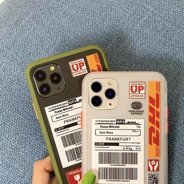 快遞標籤 iPhone SE2 XS Max XR i7 i8 i6 i6s plus 手機殼 透色背板 磨砂防摔 潮牌英文 矽膠軟殼