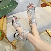 魚口鞋 粗跟水鑚涼鞋女新款夏季中跟時尚百搭旗袍走秀禮服魚口高跟鞋-Ballet朵朵