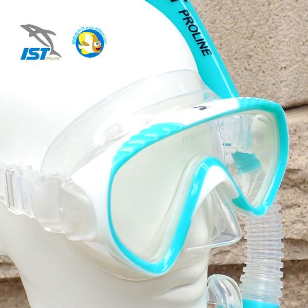 [ 台灣製 IST ] 兒童 浮潛三寶  CFJ02 綠白 面鏡+呼吸管+蛙鞋 附收納網袋 ;蝴蝶魚戶外