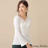「 Hot item 」 V領蕾絲捲邊上衣 - Green Parks