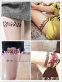 紋身貼紙~性感大腿黑色蕾絲邊紋身貼防水女持久仿真韓國蝴蝶結腿環-薇格嚴選