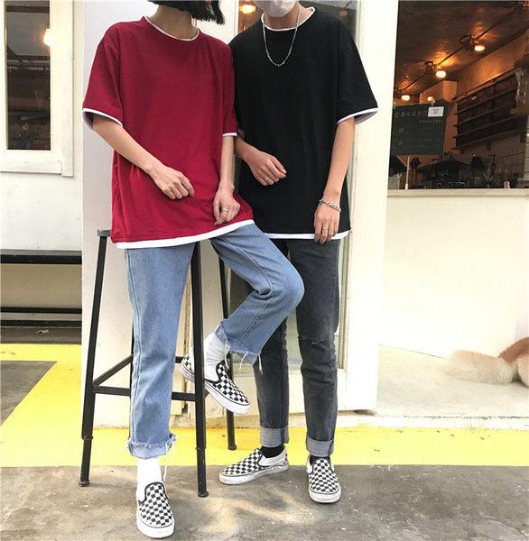 找到自己 MD 日系 潮 街頭 男女 情侶裝 寬鬆 五分袖 素面純色假兩件 短袖T恤 素面T