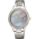 母親節推薦款 CITIZEN 星辰 XC 光動能水晶女錶-珍珠貝x雙色版/33mm EO1184-81D