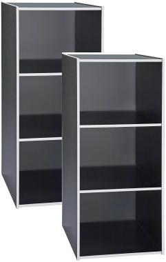 [ 家事達 ] SA-1300-GR《COLOR BOX》三格收納櫃 --新潮黑x2個  特價 空櫃 書櫃 書架