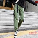 工裝褲 束腳工裝褲女2019秋季新款寬鬆bf褲子女潮軍綠直筒高腰顯瘦運動褲 2色S-2XL 雙12提前購