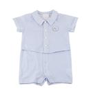 【愛的世界】純棉小兔格紋假兩件短袖連身褲...