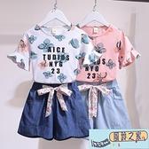女童網紅套裝洋氣時髦夏裝短袖T 恤  中大童牛仔短褲兩件套~風鈴之家~