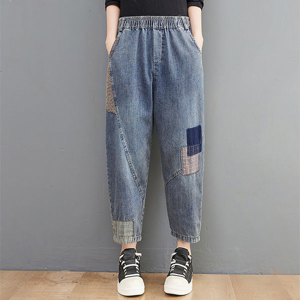 *ORead*貼布做舊牛仔休閒9分褲(藍色M~2XL)