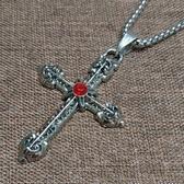 復古嘻哈風基督教天主教鈦鋼十字架項鍊(附60公分方格項鍊)