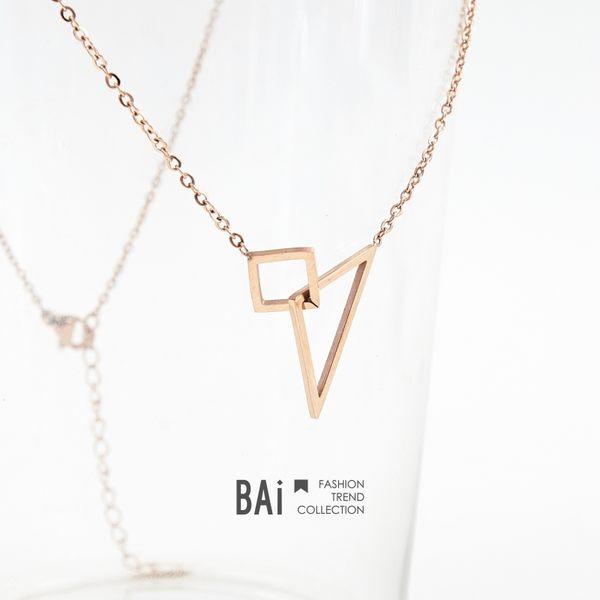 短鍊 幾何鏤空小方形三角金屬鎖骨項鍊-BAi白媽媽【180110】