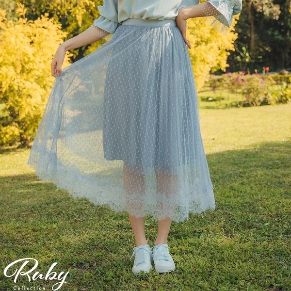 裙子 點點蕾絲鬆緊紗裙長裙-Ruby s 露比午茶