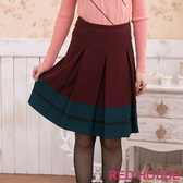 【RED HOUSE 蕾赫斯】百褶雙色及膝裙(共三色)