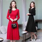 尾牙晚禮服新娘紅色新款秋冬季中長款長袖結婚宴會修身晚禮服裙 QQ17465『東京衣社』