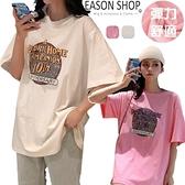 EASON SHOP(GQ0385)實拍歐美撞色字母印花側開衩落肩寬鬆圓領短袖五分袖素色棉T恤女上衣服寬版大尺碼