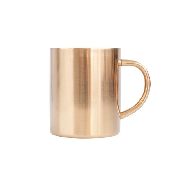 北歐風真空鍍銅不銹鋼馬克杯 金色咖啡水杯 雙層隔熱防燙保溫杯【八折搶購】