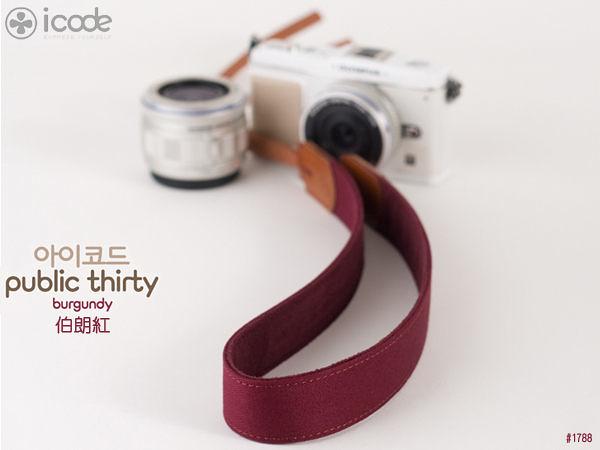 *數配樂* 韓國 i-code icode Public 30 彩色 花紋 減壓 相機背帶 伯朗紅