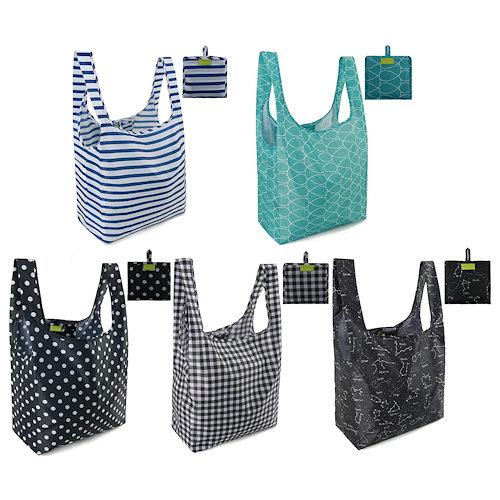 大容量耐用重量輕防撕裂防水購物袋(5個一組)