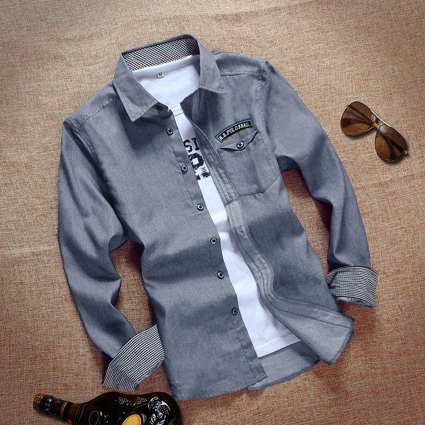 夏季青少年男學生牛仔襯衫男長袖外套休閒潮男牛仔上衣男士襯衣
