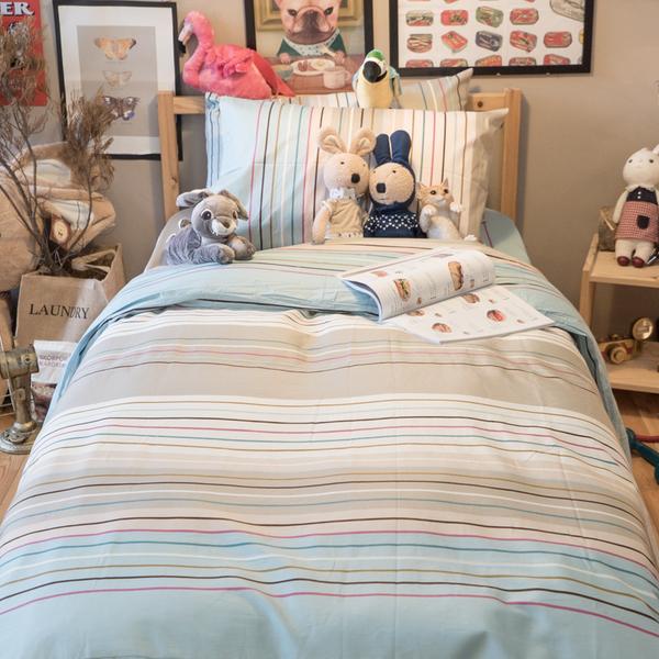 文青藍線條 S1單人床包2件組  100%精梳棉  台灣製
