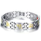 《 QBOX 》FASHION 飾品【BSBRM-123】精緻個性文殊菩薩心咒鑲健康磁石鈦鋼手鍊/手環