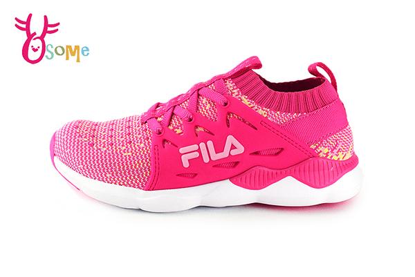 FILA運動鞋 女童 大童 鬆緊襪套式 慢跑鞋 O7648#桃紅◆OSOME奧森鞋業