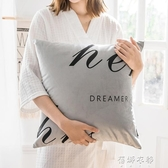 創意簡約字母印花義大利麗絲絨抱枕客廳沙發靠墊臥室床頭靠枕