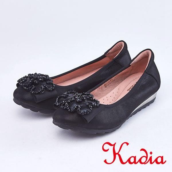 kadia.璀璨奢華-花朵羊皮包鞋(9012-91黑色)