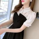 VK精品服飾 韓國風復古襯衫拼接平口吊帶假兩件甜美短袖洋裝