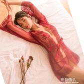 酒紅色透視睡袍浴袍性感浴衣女夏日式和服睡衣套裝新娘晨袍情趣騷 完美情人精品館 YXS