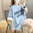 短袖上衣7782#(32棉)2021夏韓版中長款插色開叉短袖T恤女NE416 韓依紡